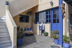 Santorini house patio Stock Photos