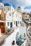 Santorini - typically blue-white church in Oia. Royalty Free Stock Photos