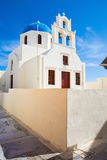 Santorini - typically white blue church in Oia. Stock Images