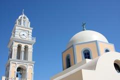 Santorini, una chiesa ortodossa Fotografia Stock