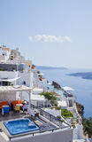 Santorini vacation. Beautiful terasses looking over the caldera. Santorini, Greece Stock Photo