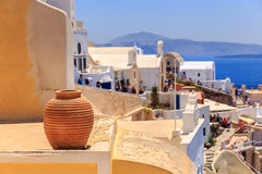 Santorini vase decoration. One of the vase on the Oia roof stock photo