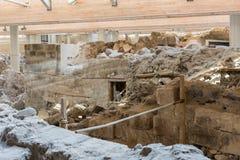 Santorini, vecchia città Akrotiri Immagini Stock Libere da Diritti