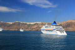 Santorini view (Greece) - travel background Royalty Free Stock Images