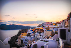 Santorini, view of Oia and Therasia Stock Photography