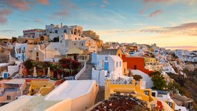 Santorini. View of Oia village on Santorini island in Greece stock images