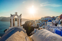 Santorini. View of Oia village with sunset, Santorini, Greece Royalty Free Stock Images