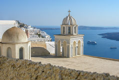 Santorini view. The view over a church from a terrace in Santorini, Greece Royalty Free Stock Photos