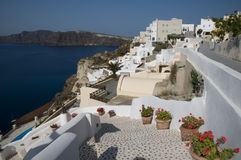 Santorini view over harbor Royalty Free Stock Photography
