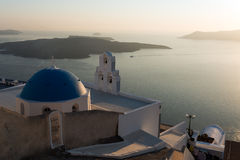 Santorini view. Panoramic view of santorini Volcano and caldera Royalty Free Stock Photos
