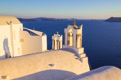Santorini views on the caldera from beautiful village of Oia, Cyclades, Greece Royalty Free Stock Photo