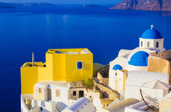 Santorini views on the caldera from beautiful village of Oia, Cyclades, Greece Stock Photos