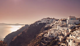 Santorini village at dusk Royalty Free Stock Photo