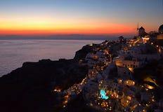 Santorini vlak na zonsondergang Royalty-vrije Stock Afbeeldingen