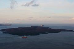 Santorini volcanic island in the sunrise Stock Photos