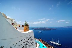 Santorini Volcano View 2. View of a volcano from resort of Santorini in the Greek Islands Royalty Free Stock Photo