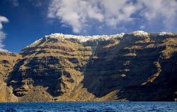 Santorini vom Meer Stockfotos