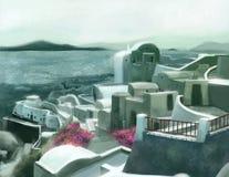Santorini, voyages en mer de la Grèce Images libres de droits