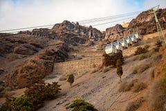 Santorini wagon kolei linowej łączy port z miasteczkiem Thera w Santorini wyspie, Grecja fotografia stock
