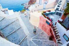 Santorini Walking man Stock Image