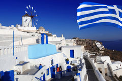Santorini white architecture in Greece Royalty Free Stock Images