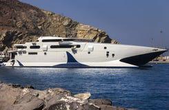 In Santorini white ferryboat royalty free stock photo