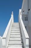Santorini white steps in Thira Royalty Free Stock Photos