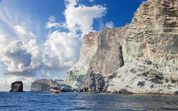 Santorini - whiter rock tower from south part of the island. Royalty Free Stock Photos