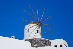 Santorini windmill Stock Photography