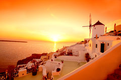 Santorini with windmill in Oia, Greece Royalty Free Stock Photo