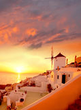 Santorini with windmill in Oia, Greece Stock Image