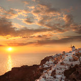 Santorini with windmill in Oia, Greece Royalty Free Stock Photography