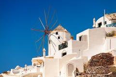 Santorini windmill. Traditional windmill in Oia, island Santorini Greece Stock Photo