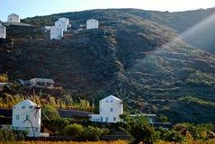 Santorini windmills Arkivfoto