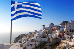 Santorini with windmills in Oia, Greece Royalty Free Stock Image