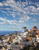 Santorini with windmills in Oia, Greece Stock Photography