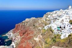 Santorini witte huizen Stock Foto