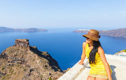 Santorini and woman Royalty Free Stock Photo