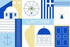 Santorini wyspy mieszkanie i liniowa ilustracja Obrazy Royalty Free