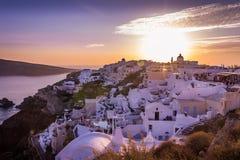 Santorini zmierzch Fotografia Royalty Free