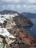 Santorinicaldera tegen Dag Stock Foto
