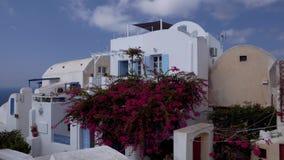 Santorinilandschap van kunstgriekenland, de traditionele werf van het land stock footage