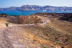Santorinis vulkan Arkivbild