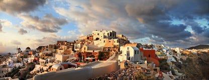Santorinizonsondergang royalty-vrije stock afbeelding
