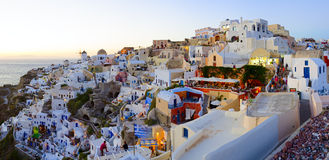 Santorinizonsondergang Royalty-vrije Stock Fotografie