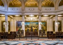 Interior of Coffee Museum Museu do Cafe former Coffee Stock Exchange Building Bolsa do Cafe - Santos, Sao Paulo, Brazil. SANTOS, BRAZIL - Sep 1, 2017: Interior royalty free stock photography