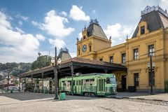 Old Valongo Train Station and Santos Touristic Tram - Santos, Sao Paulo, Brazil Royalty Free Stock Photos