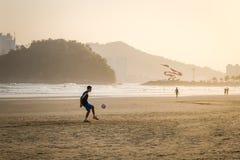 People playing soccer at Santos Beach - Santos, Sao Paulo, Brazil Stock Photography