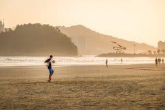 People playing soccer at Santos Beach - Santos, Sao Paulo, Brazil Stock Images