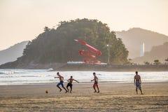 People playing soccer at Santos Beach - Santos, Sao Paulo, Brazil Royalty Free Stock Photo